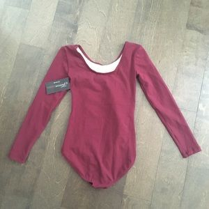 Theatricals Tops - Deep burgundy red cotton Leotard Bodysuit